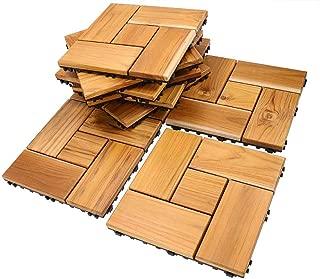 Teak Flooring Tiles, Easy Install Wood Interlocking Flooring Tiles 12 x 12 Inch for Indoor or Outdoor by HTB (Pack of 10)