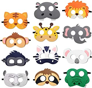 Safari Party Decorations Safari Jungle Animal Felt Masks Wild Animal Theme Birthday Party Favors Kids Costumes Dress-Up Pa...