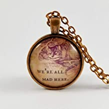 Alice in Wonderland Cheshire Cat Quote Necklace We're All Mad Here Coworker Gift Idea Family Gift Exchange Ideas Stocking Stuffer