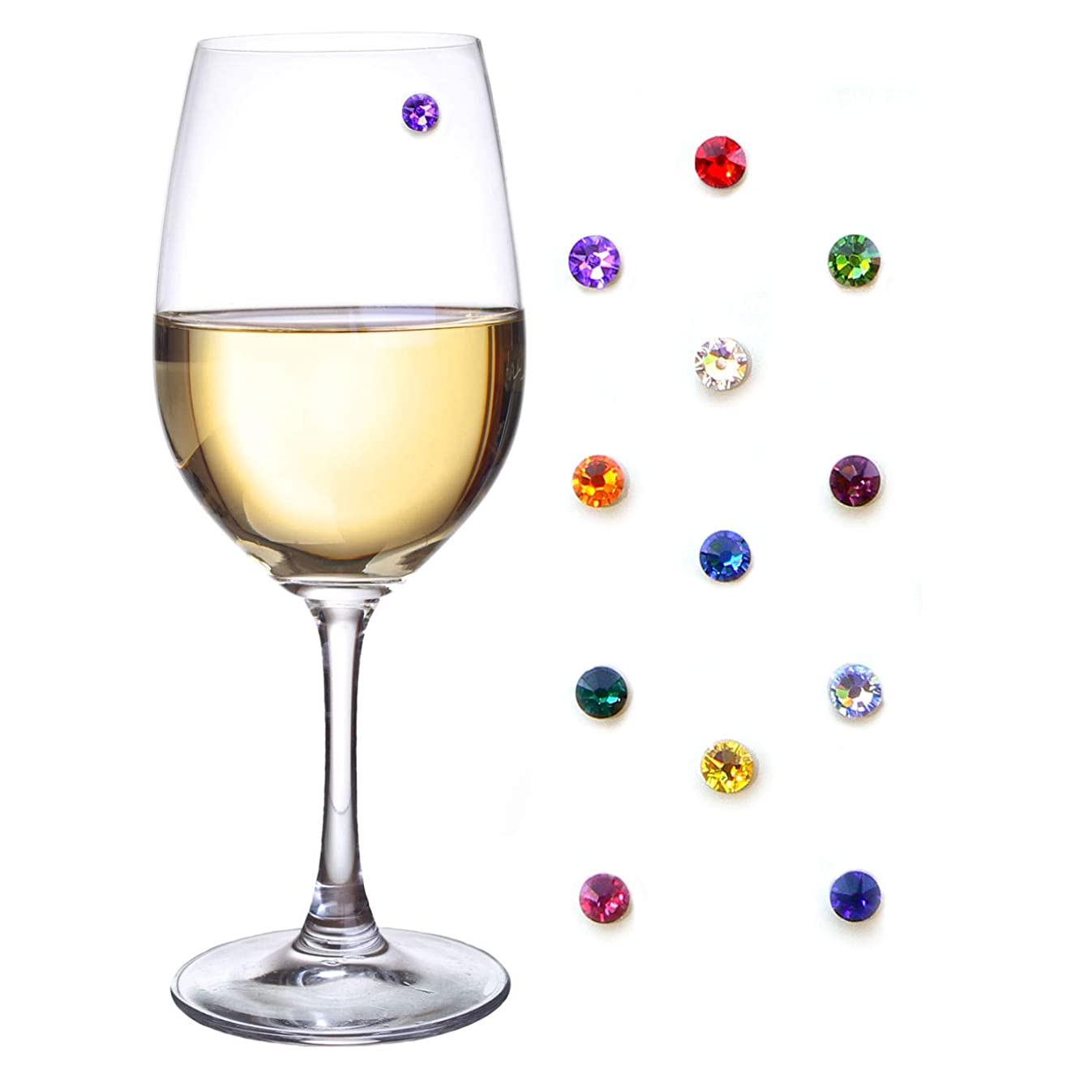 Simply Charmed Swarovski Crystal Magnetic Wine Glass Charms Set of 12 Glass Markers That Work on Stemless Glasses - Gift/Storage Box Included