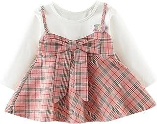 Cutelove Tシャツ+吊りスカート2点セット チェック柄 長袖 女の子 ガールズ 綿 プリンセスドレス 秋 可愛い 素敵 カジュアル 普段着 素敵 3色