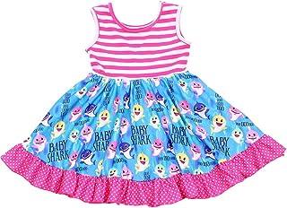 فستان Twril للفتيات الرضع ملون مطبوع عليه سمكة قرش طفل ملون بدون أكمام وردي مخطط ملابس حرير حليبي