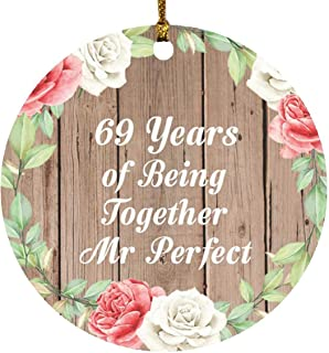 69th Anniversary 69 Years of Being Mr Perfect - Circle Wood Ornament B Christmas Tree Hanging Decor - for Wife Husband Wo-...