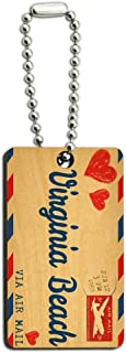 Graphics and More Air Mail Postcard Love for Virginia Beach Wood Wooden Rectangle Key Chain