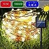 ソーラーライト電飾イルミネーション屋外ガーデンライト IP65防水10M100LED (ウオームホワイト) [並行輸入品]