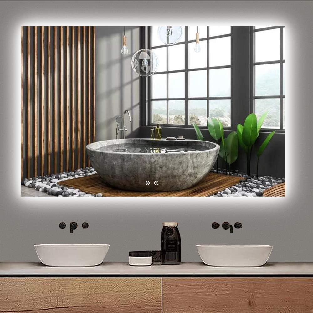 TETOTE Max 64% OFF Attention brand 48 x 30 Inch Mirror LED Backlit Bathroom Anti-Fog