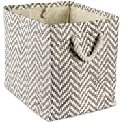 """DII Oversize Woven Paper Storage Basket or Bin, Collapsible & Convenient Home Organization Solution for Office, Bedroom, Closet, Toys, & Laundry(Medium - 15x10x12""""), Black & White Basketweave"""