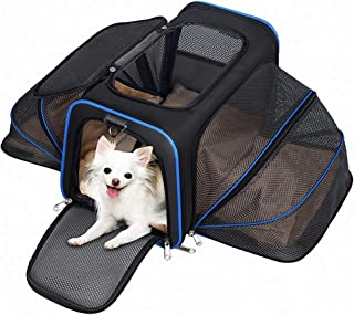 MC Star Transportin Perro Gatos Mascotas Plegable Port/átil Impermeable Oxford Portador Bolsa de Transporte con tapete de vell/ón para Coche Viaje Beige L