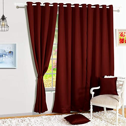 Story Home Blackout Faux Silk Superior 4 Piece Plain Solid Window Curtains 5 feet Maroon
