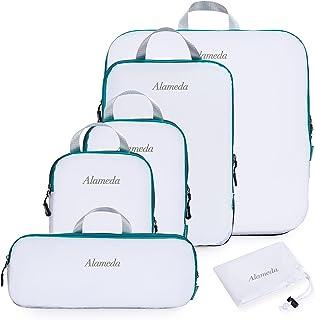 مجموعة مكعبات مضغوطة للتعبئة من 6 قطع للأمتعة المحمولة ، منظمات تعبئة السفر مع حقيبة غسيل لحقيبة الظهر ، باللون الأبيض