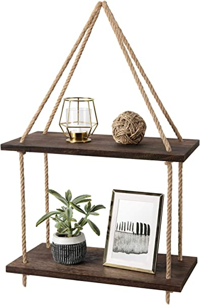 Mkono Wood Hanging Shelf Wall Swing Storage Shelves Jute Rope Organizer Rack 2 Tier