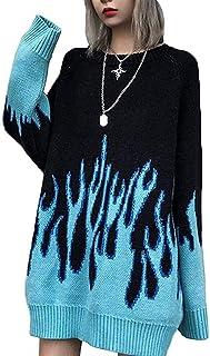 Suéteres de punto grueso para mujer, de gran tamaño, con llamas, E-Girl Grunge ropa, Harajuku, ropa estética (color: azul,...