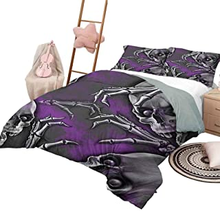 DayDayFun Juego de Funda nórdica con diseño de Calavera y Colcha de Dormitorio Liviana para Todas Las Estaciones