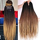 Box Braids Crochet Hair 6 Packs 24 Inch Ombre Dark Roots Honey Blonde 3X Goddess Senegalese Twist Tissage Fiber Kanekalon Braiding Hair Extensions 22 Strands/Pack 100g (T1B/4/27#)