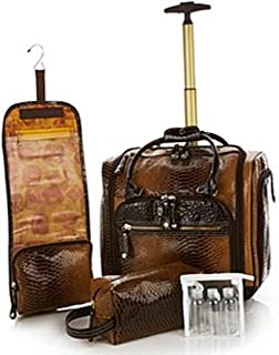 Samantha Brown Embossed Ombre Underseater Luggage with Accessories ~ Brown/Goldenrod