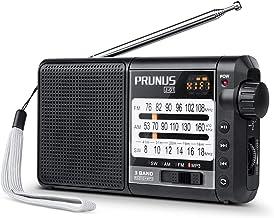 PRUNUS J-01 Radio Recepción Sobresaliente FM/Am/SW Micro SD MP3 WMA DSP Radio Transistor Portátil 2200mah Batería de Larga duración Recargable y Reemplazable, pude durar hasta 20 Horas