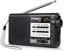 J-01 Portable AM/FM Radio with Best Reception, 18650 Battery Operated Shortwave Radio MP3 Player, by PRUNUS