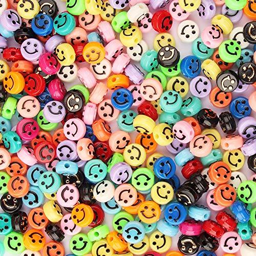 ZesNice 200 Stück Emoji Fädelperlen, Perlen zum Auffädeln Bastelperlen Bunte 3D Lächeln Perlen für Armbänder Schmuck Basteln DIY, Geschenk Kinder Mädchen