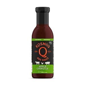 Kosmos Q Sweet Apple Chipotle BBQ Sauce   Sweet & Smoky Flavor   Best Barbeque Sauce   Seasoning & Marinade   15.5 Oz Bottle