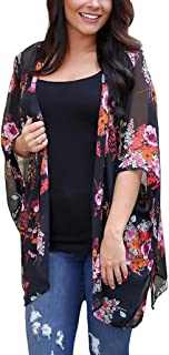 PRETTODAY Women's Floral Print Kimonos Loose Half Sleeve...