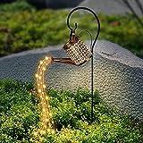 LED Gießkanne, Gartendeko Solar LED Lichterketten, Wasserdichte Stern Dusche Gartenleuchten Nachtlicht, Gartenskulpturen & Statuen, Romantische Dekorative Lichter für Hof, Garten (Mit Halterung)