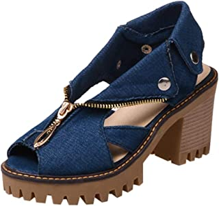 2019 Hot!! Women High Heel Sandals, Ladies Cuffed Denim Thick Platform Fish Mouth Casual Shoes