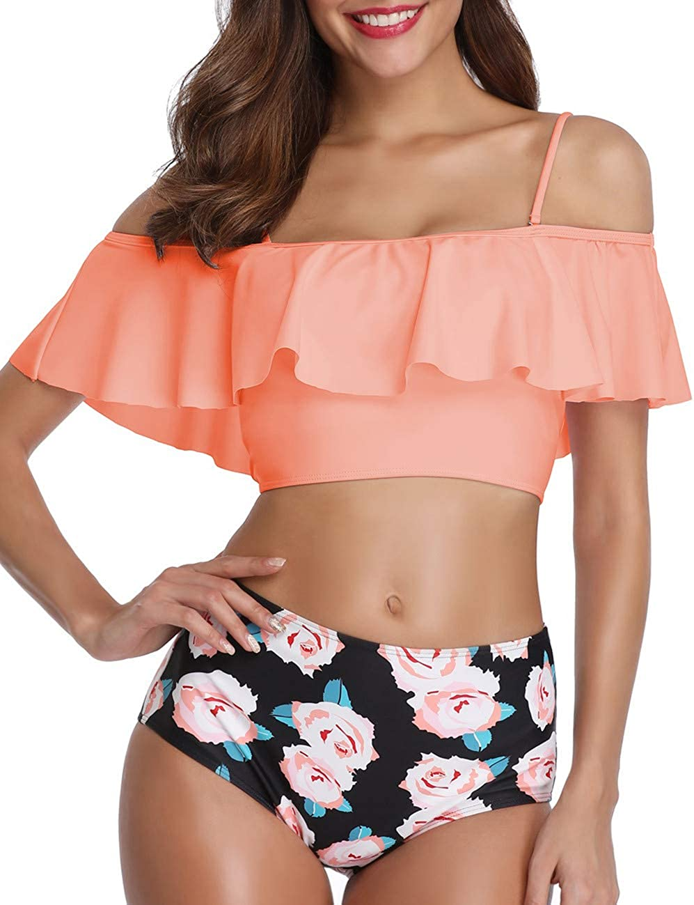 Mycoco Women's High Waisted Bathing Suits Tassel Flowy Flounce Two Piece Bikini Swimsuits