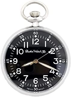 Dueber Military Style Pocket Watch with Black Dial, Lumious Hands, Polished Chrome Steel Case