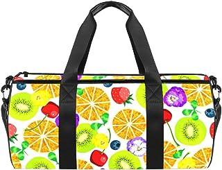 DJROWW Reisetasche aus Segeltuch mit roten Erdbeeren, Orangen und Kiwi mit Blumen