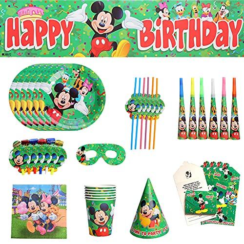 CYSJ Set de Fiesta de Cumpleaños de Mickey, 69 Pcs Juego de Cubiertos de Mickey Mouse, Cumpleaños Vajilla Set de Fiesta Kids Birthday Mickey, Plato, Servilleta de Papel para Niños Baby Shower
