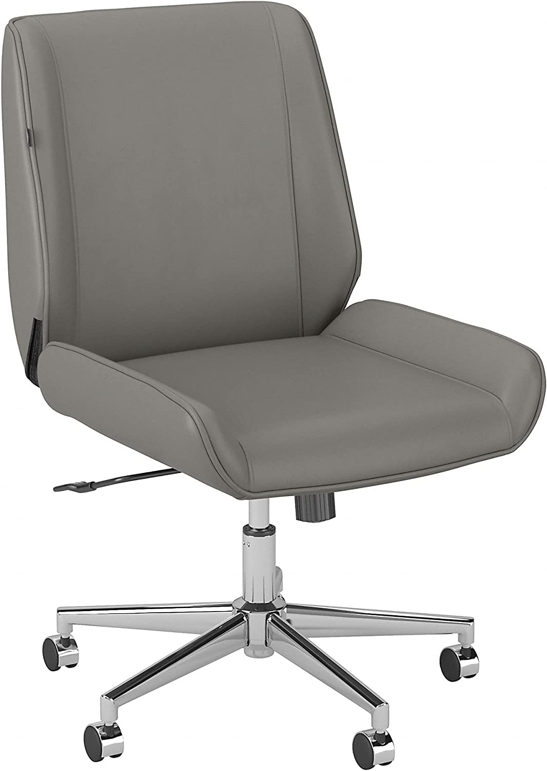 Bush Business Furniture Bay Street Wingback Leather Office Chair, Light Gray