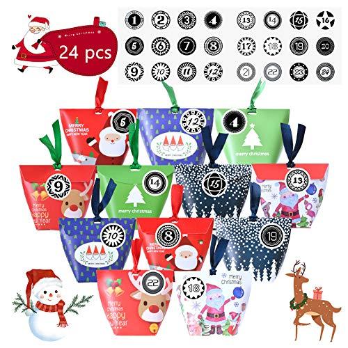 EKKONG Calendario Adviento, 2020 24 Bolsas de Calendario de Adviento con 24 Pegatinas de Números para Decoración Navideña Bolsa de Regalo de Navidad Tradicional con 6 Bonito Patrón Navideño