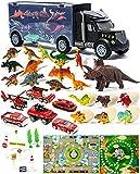 STAY GENT Dinosaurios Juguetes Camion Transporte Coches, Camiones de Juguete con 13 Pcs Dinosaurios Juguetes, Regalo de Juguete Educativo para niños y niñas 3 4 5 6 7