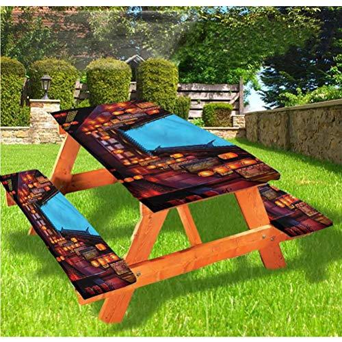 LEWIS FRANKLIN Cortina de ducha Antigua China Cubiertas de mesa de picnic de lujo, mantel de borde elástico para peatones, 60 x 172 cm, juego de 3 piezas para mesa plegable