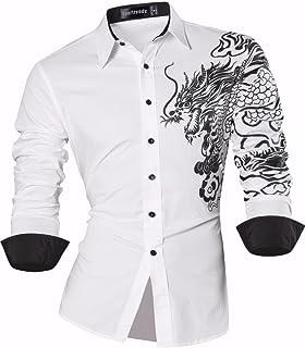 Sportrendy 男性用 メンズ スリムフィット 長袖 カジュアル シャツ ワイシャツ JZS041