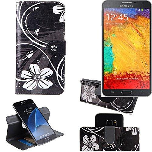 K-S-Trade® Schutzhülle Für Samsung Galaxy Note 3 Neo 3G Hülle 360° Wallet Case Schutz Hülle ''Flowers'' Smartphone Flip Cover Flipstyle Tasche Handyhülle Schwarz-weiß 1x