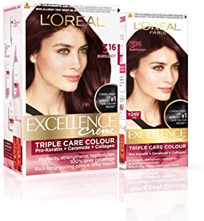 L'Oreal Paris Excellence Creme Hair Color, 3.16 Burgundy, 222g (172ml+50ml) - Combo pack of 2