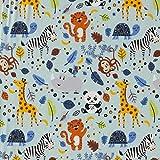 Stoff Baumwolle Meterware Jersey hellblau Tiere Giraffe