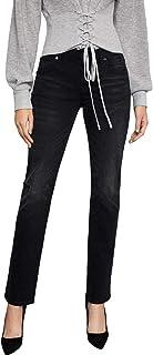 BCBG Max Azria Womens Denim Distressed Straight Leg Jeans Black 31