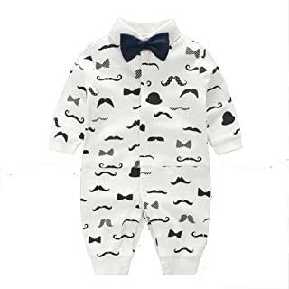 Angelchild Baby Boy One Piece Long Sleeve Gentleman Formal Outfit with Bow Tie