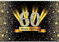 新しい2.1x1.5mVinyl誕生日の背景60歳の誕生日の背景ゴールドブラックキラキラスパンコール背景写真キッズパーティー