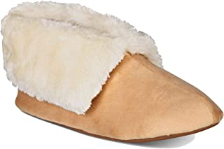 Charter Club Men's Plush Faux-Fur Booties Slippers (Beige Khaki, S)