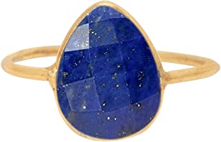 Genuine Lapis 18K Gold Plated Sterling Silver Wholesale Gemstone Fashion Jewelry Pear Cut Ring