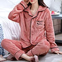 Nachthemd Voor Dames,Rood Fluweel Casual Lange Mouw Knoop Nachtkleding Zachte Lange Broek Loungewear Herfst Winter Homewea...