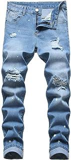 Men's Ripped Jeans, Distressed Slim Fit Straight Leg Regular Fashion Denim Pants