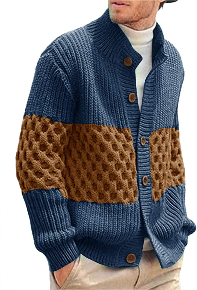 Pengfei Men's Stylish Stand Collar Cable Knitted Button Shawl Chunky Casual Cardigan Sweater Blue