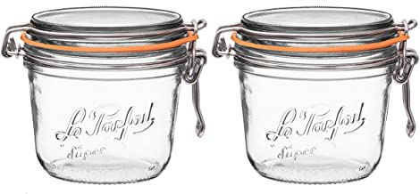 Le Parfait French Super Terrine Wide Mouth Jar - 500 Grams with 100 mm Gasket (Pack of 2)