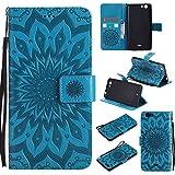 Guran® PU Leder Tasche Etui für Wiko Pulp 3G (5 Zoll) Smartphone Flip Cover Stand Hülle & Karte Slot Hülle-blau