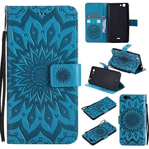 pinlu® PU Leder Tasche Etui Schutzhülle für Wiko Pulp Fab 4G LTE (5,5 Zoll) Lederhülle Schale Flip Cover Tasche mit Standfunktion Sonnenblume Muster Hülle (Blau)