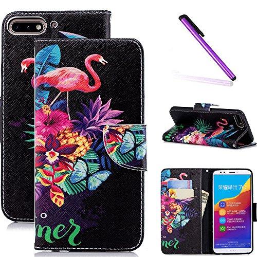 COTDINFOR Huawei Y7 2018 Hülle süß für Geschenk Lederhülle süß Schutzhülle PU Leder Flip Bookcase Handy Tasche Magnet Etui für Huawei Honor 7C Flamingo Butterfly BF.